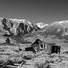 Black and White Version of Old Cabin, Highway 395