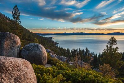 Dusk over Lake Tahoe from one of the switchbacks on Tunnel Creek Road.