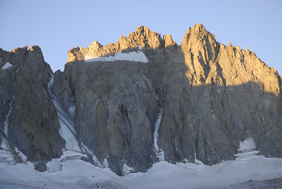 Left to right:  U Notch Couloir, North Palisade Peak (14,242\'), and Starlight Peak Sept 7, 2007