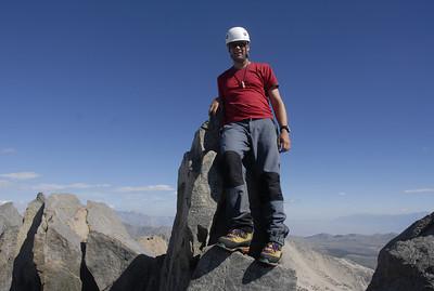 Kurt Wedberg on the summit of Middle Palisade Peak, August 6, 2008