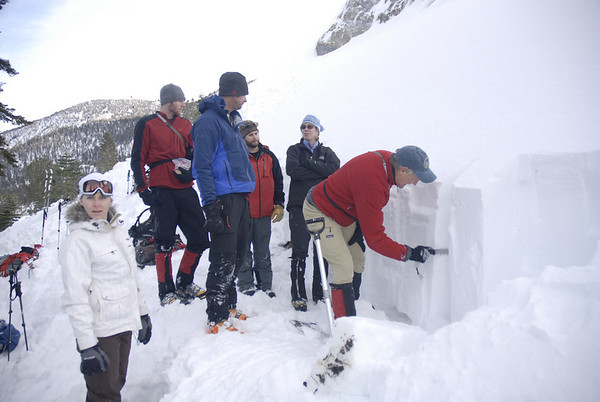Analysing layers of snow in a specially dug pit during an avalanche cours
