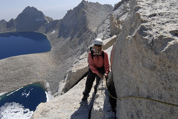 Betsy traversing on the East Ridge of Mt. Russell