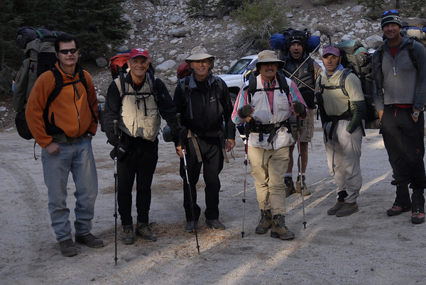 The team ready to begin at Whitney Portal