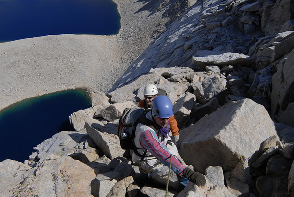 Climbing on the East Ridge required negotiating careful foot and hand placements with the frost coating the rock