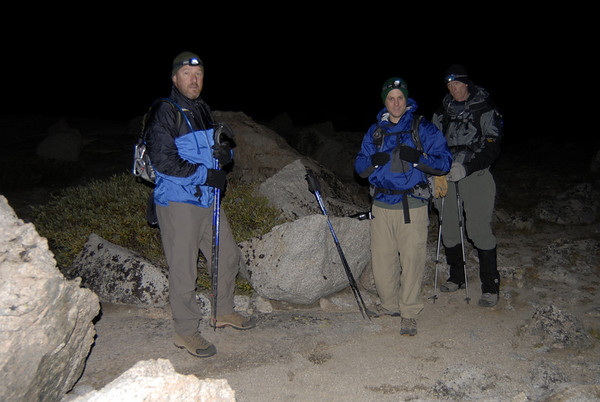 The team ready to begin the ascent long before daybreak at camp at Upper Boyscout Lake