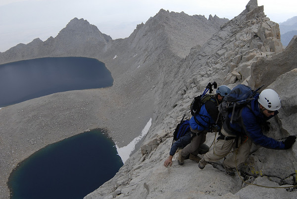 The team negotiating some of the 3rd class moves on the East Ridge