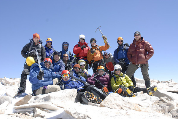 A happy group on the summit of Mt. Whitney during one of our winter/spring Mt. Whitney climbs