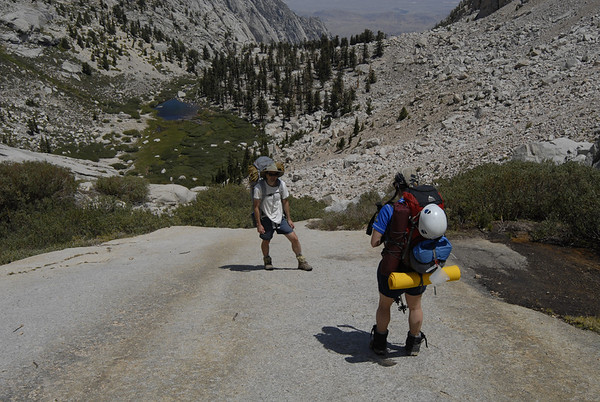 Hiking over granite slabs above Lower Boyscout Lake.