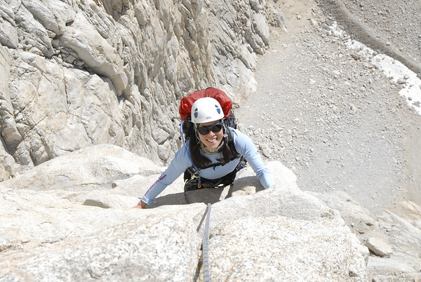 Eileen enjoying the exhilarating Fresh Air Traverse on Mt. Whitneys East Face.