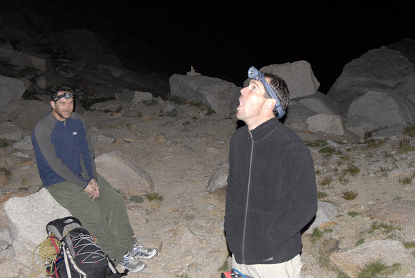 Taking a quick rest break at Lower Boyscout Lake in the middle of the night.