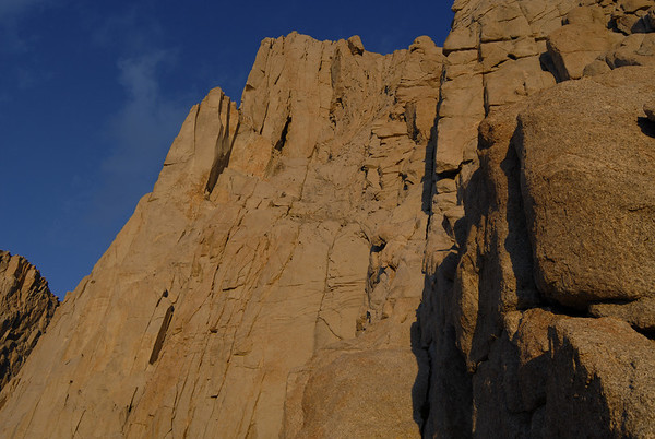 Sunrise at the start of the East Face of Mt. Whitney