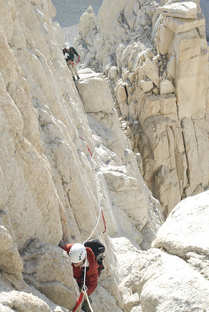 The Tower Traverse, the first pitch of the East Face route on Mt. Whitney.