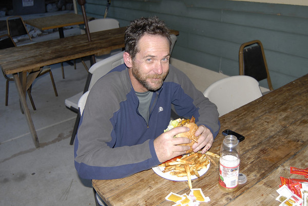 A well earned bacon cheese burger from the Whitney Portal Store.