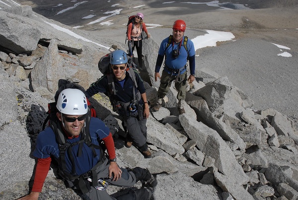 Cory, Reid, Ed, and Sara beginning the ascent of the North Rib of Mt. Tyndall