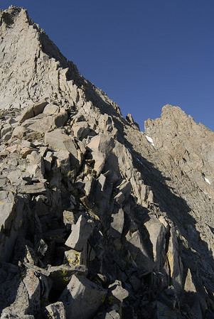 NNE Ridge of Norman Clyde Peak.  Our route on the NNE Face is on the right side of this ridge.