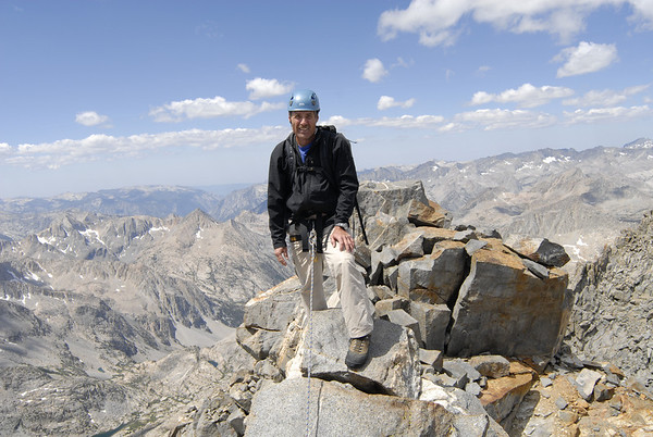 Greg Gerlach on the summit of Norman Clyde Peak on August 1, 2009
