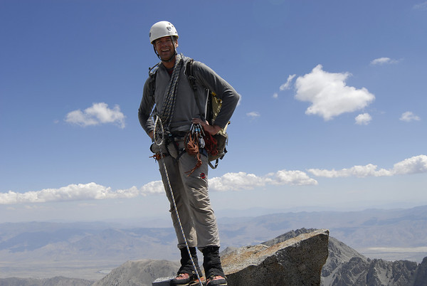 Kurt Wedberg on the summit of Norman Clyde Peak, August 1, 2009