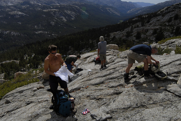 Taking a break below Darwin Bench on our cross country route headed towards the John Muir Trail.  Evolution Valley below us on the right.