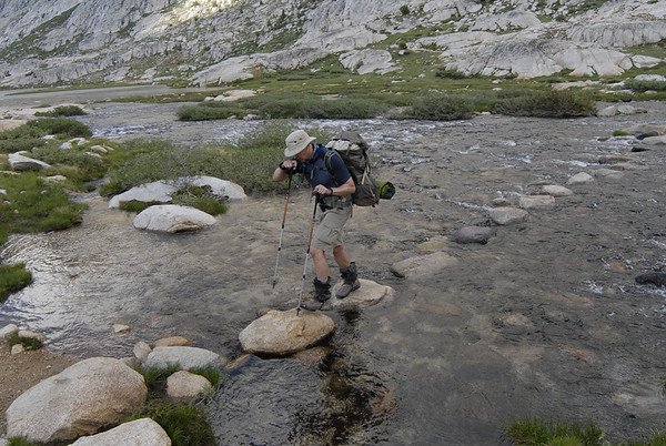 Creek crossing at the inlet to Evolution Lake at 10,800 feet