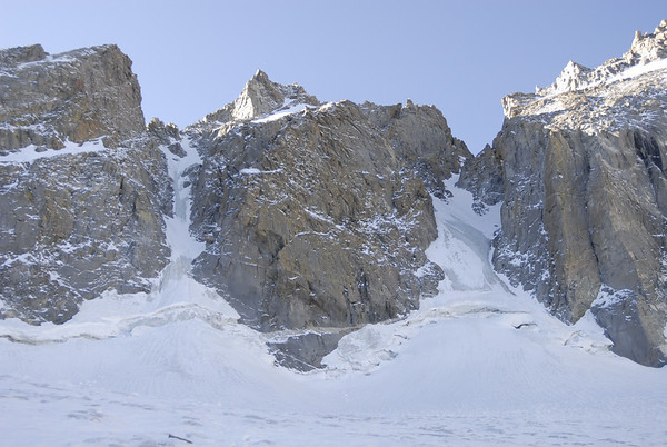 The U Notch Couloir in the center skyline rising above the Palisade Glacier