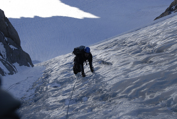 Ben climbing on the hard ice on pitch #2