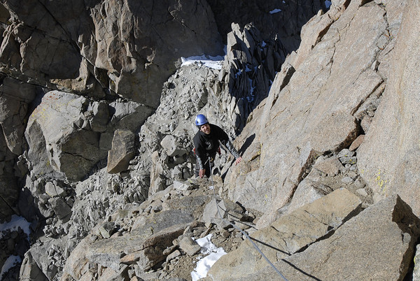 Ben finishing up the first pitch of low 5th class rock climbing en route to the summit of Polemonium Peak