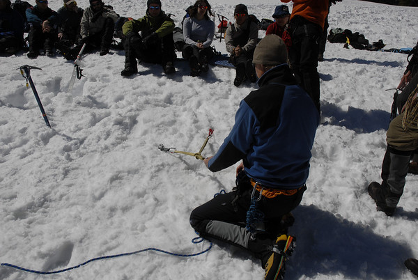 Learning proper anchor placements in snow during an SMI Snow Travel Course