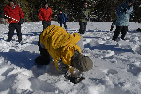 Learning ice axe self arrest during a Snow Travel Course