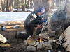 Our first camp was Duck Lake, 9100 ft.; Donn tries to start a campfire.