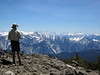 Donn takes in the crowning view south--across Middle Fork of the Kings gorge, to Monarch Divide--Mt. Harrington to Eagle Peaks.