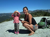 Fellow hikers on Little Baldy, two-year old Bridget with her auntie