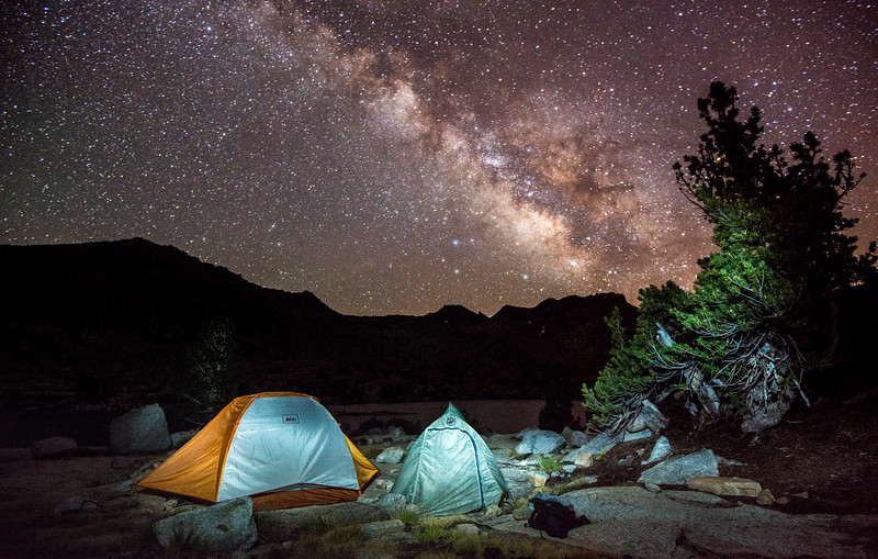 A view of the Milky Way above our camp at Marie Lakes.