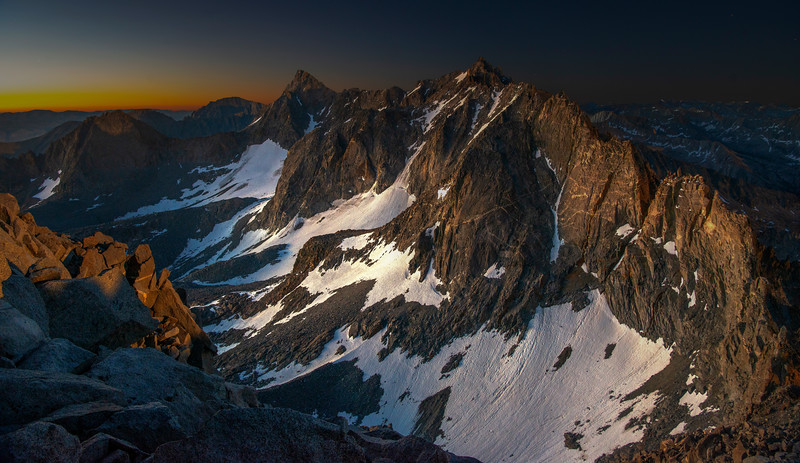 The Palisade range and glacier under a moonlit sky.