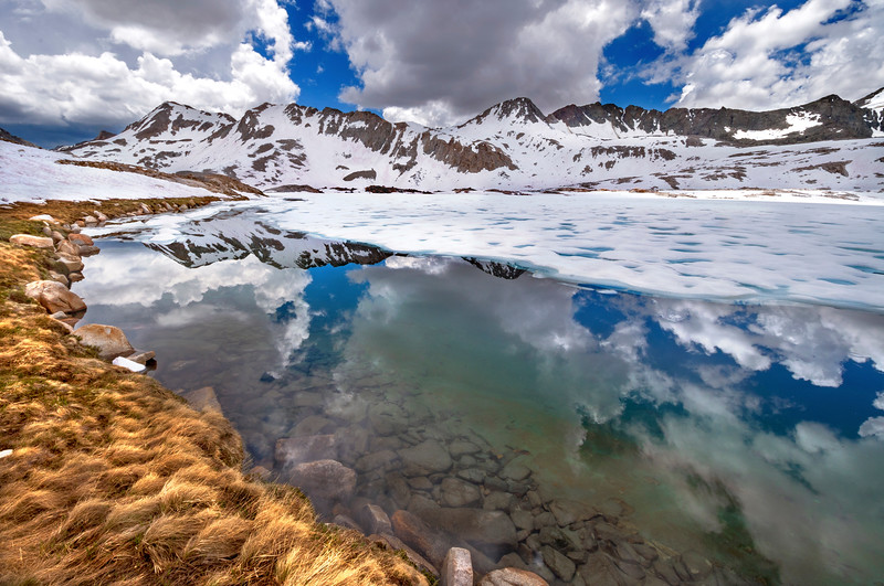 A partially frozen Wanda Lake during our ascent of Muir Pass along the JMT.
