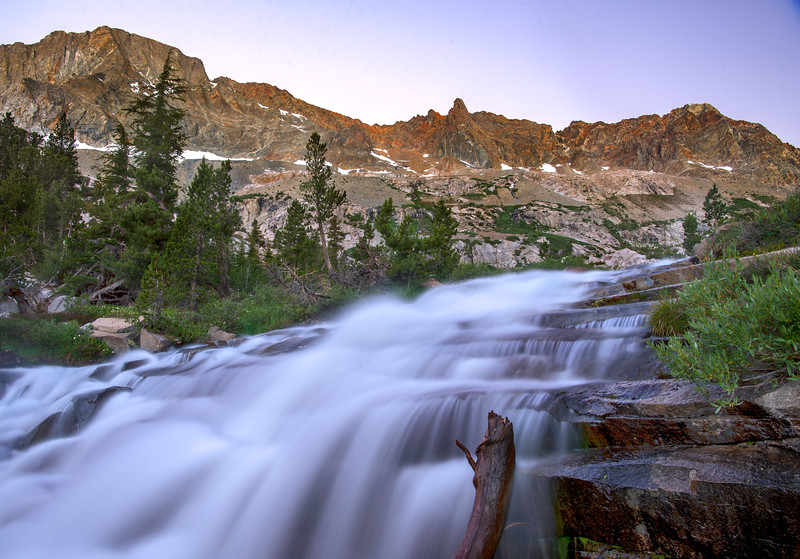 Waterfall dropping into LeConte Canyon on the John Muir Trail
