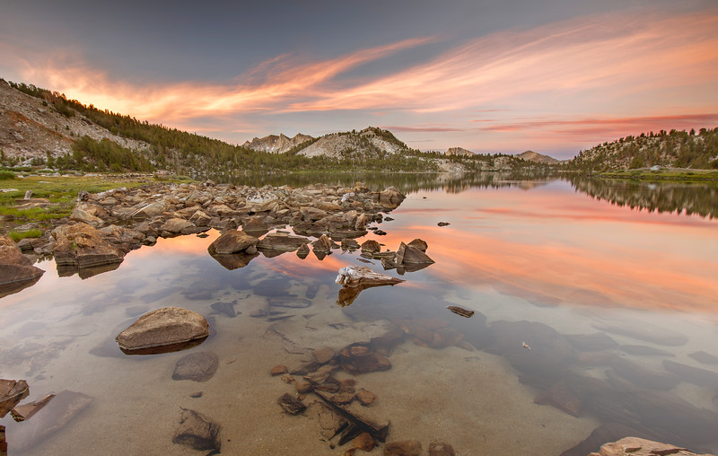 Sunrise at Lake Virginia near our camp spot on the JMT.