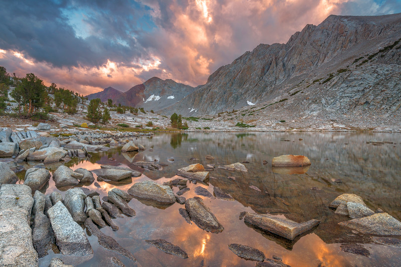 Looking south at Pinchot Pass from our camp spot near an unnamed lake on the JMT.