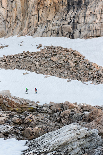 Jared and Doug make the slog from Upper Boyscout Lake to Iceberg Lake on the Mountaineer's Route