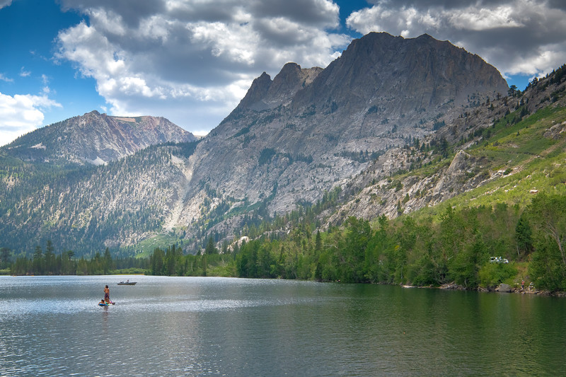 Fishermen and paddleboarders at Silver Lake on the June Lake Loop