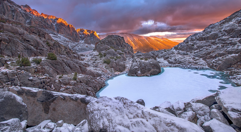 Sunrise near an unnamed lake and the Palisade Glacier.