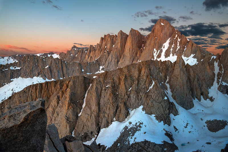 Sunrise on Mt. Whitney while on the east ridge of Mt. Russell.