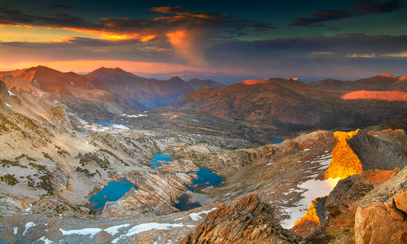 Conness Lakes at sunset taken near the summit of Mt. Conness. The Saddlebag basin shown here holds so many special memories for me.