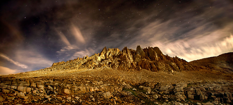 Mt. Whitney's west ridge lit up by the moonlight. It was nearly 1 a.m. when we began our final push along the JMT, headed to Whitney's Summit.