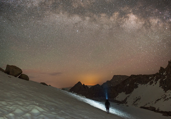 Jared shines his headlamp to the stars as we make our way back down the Mountaineer's Route on a late summer night.