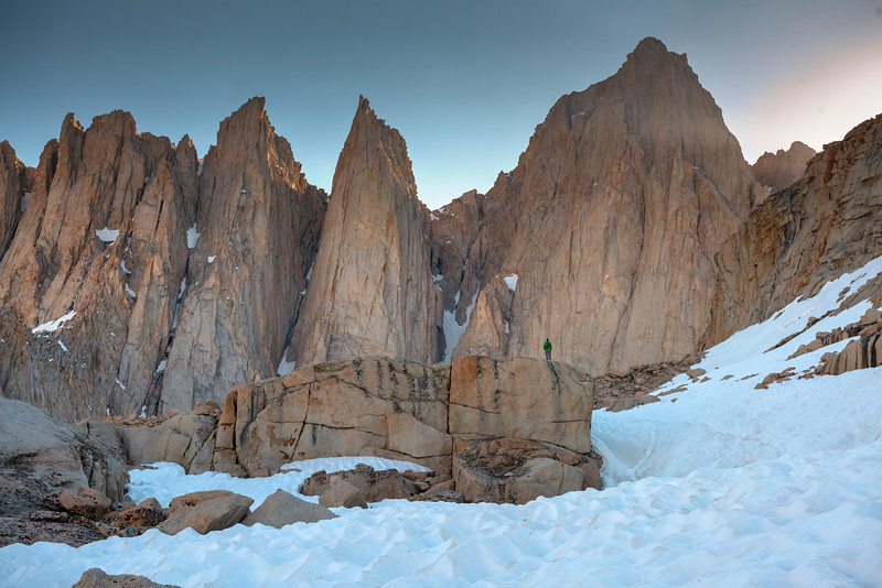 Jared standing in front of Mt. Whitney while ascending the Mountaineer's Route. Shot taken below Iceberg Lake.