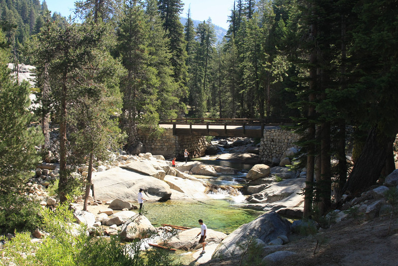 The Twin Lakes trailhead is on the north side of this bridge which crosses the Marble Fork of the Kaweah River at Lodgepole.
