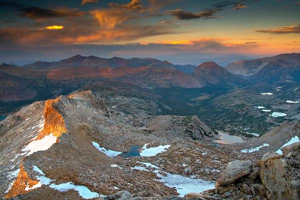 Last light on the east ridge near Mt. Conness.
