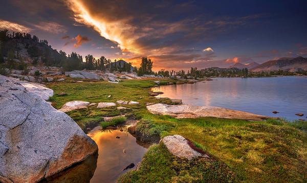 Marie Lakes at sunset along the John Muir Trail.