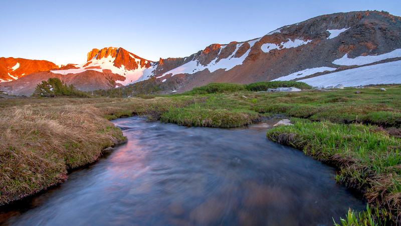 Deer creek and the Mammoth Crest at sunset.