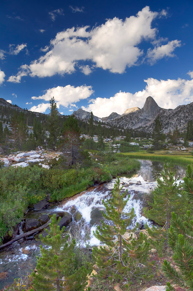 A stream flowing out of Dollar Lake near the JMT.